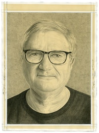 Portrait of Walter Robinson. Pencil on paper by Phong Bui.