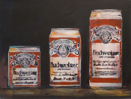 "Walter Robinson, ""Three Beers,"" 1987. Acrylic on canvas 36×48 ̋. Courtesy of University Galleries of Illinois State University."