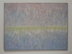 "Marc Egger, ""Cyrene,"" with light, 2013. Phosphorescent Acrylic on Linen, 97 × 130 cm. Image courtesy Fresh Window."
