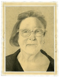 Portrait of Martha Wilson. Pencil on paper by Phong Bui.