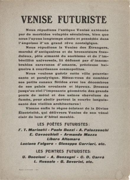 <em>Venise Futuriste Manifesto</em>, 1910.