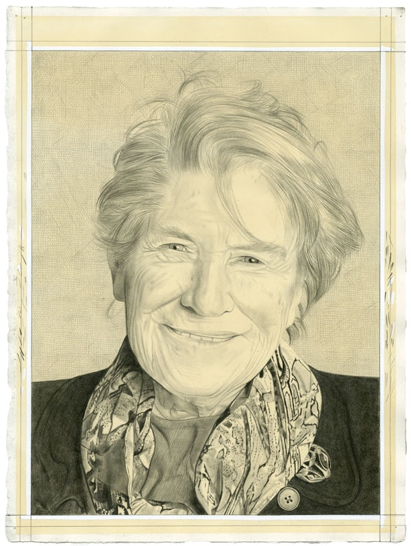 Portrait of Mary Ann Caws. Pencil on paper by Phong Bui.