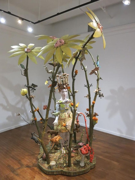"Kathy Ruttenberg, ""Nature of the Beast,"" 2014. Ceramic, bronze, leather 108 × 72 × 66 ̋. Courtesy of Stux Gallery, New York."
