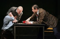 Billy Crudup (Katurian), Zeljko Ivanek (Ariel), and Jeff Goldblum (Tupolski) in a scene from <i>The Pillowman.</i> Photograph by Joan Marcus.