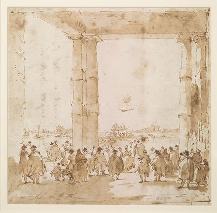 "Francesco Guardi, ""Ascent of a Balloon in Venice,"" 18th century. The Thaw Collection. Courtesy the Morgan Library & Museum."