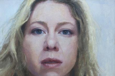"Liz Adams-Jones, ""Leah,"" 2013. Oil on canvas, 28 ̋ × 42 ̋. © Liz Adams-Jones. Image courtesy of the artist."