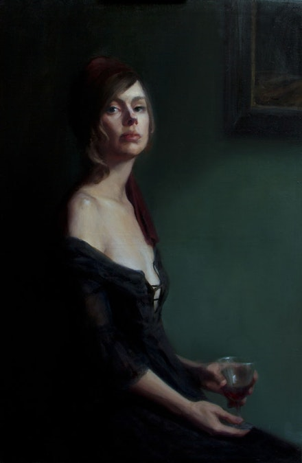 "Leah Lopez, ""Nightcap,"" 2014. Oil on linen, 36 ̋ × 24 ̋. © Leah Lopez. Image courtesy of the artist."