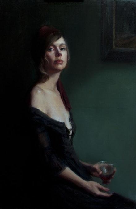 """Leah Lopez, """"Nightcap,"""" 2014. Oil on linen, 36 ̋ × 24 ̋. © Leah Lopez. Image courtesy of the artist."""