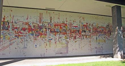 "Wayne Thiebaud, ""Water City."" Mosaic, 250×15 ́, Sacramento Municipal Utilities Headquarters, Sacramento, CA, completed 1959."