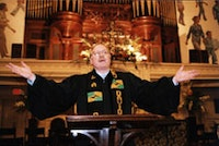 David Dyson giving his sermon at Lafayette Avenue Presbyterian Church in Fort Greene, Sunday March 27, 2005.  Photograph by Brian Molyneaux.