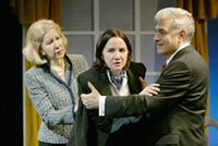 A scene from Oedipus at Theater By The Blind. Left to right: Melanie Boland, Pamela Sabaugh, and George Ashiotis.