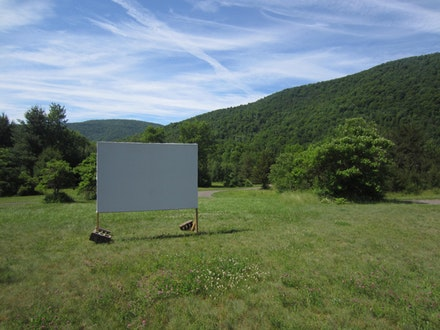 The screening room for a program of Rossetti's films shown on the residency grounds, courtesy the Shandaken Project.
