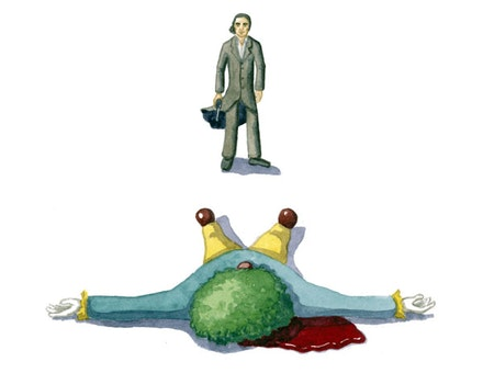 Nick Cave shoots a clown. Illustration by Megan Piontkowski.