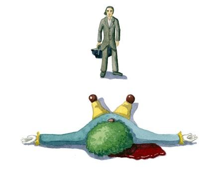 Nick Cave shoots a clown. Illustration by Megan Piontkowski.