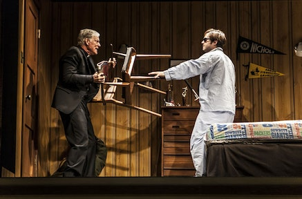 Richard Chamberlain and Ben Schnetzer in The New Group production of David Rabe's Sticks and Bones, directed by Scott Elliott, fight direction by David Anzuelo, at The Pershing Square Signature Center (480 West 42nd Street) through December 14. Photo: Monique Carboni.