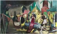 "Neo Rauch, ""Der Blaue Fisch,"" 2014. Oil on canvas. Diptych, 118 1/8 × 196 7/8 ̋. Courtesy David Zwirner New York/London"