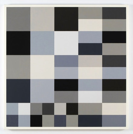"Cary Smith, ""Grey Blocks #21,"" 2012. Oil on linen, 31 × 31 ̋."