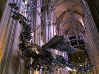 Xu Bing, Installation view: <em>Phoenix</em> (2008 – 10), The Cathedral of St. John the Divine. Construction tools and debris, LED lights; dimensions variable. Photo: Jesse Robert Coffino.