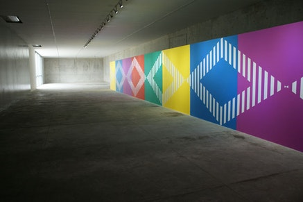 Casa Wabi's Gallery Space with Installation by Daniel Buren. Photo by Lucía Hinojosa.