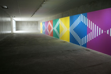Casa Wabi's Gallery Space with Installation by Daniel Buren. Photo by Lucía Hinojosa.