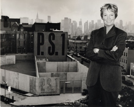 Alanna Heiss in front of PS1 Contemporary Art Center, 1997. Photo and styling: Lucy Sisman.
