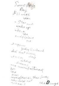Poem for Judy Garland holograph manuscript, 2010.