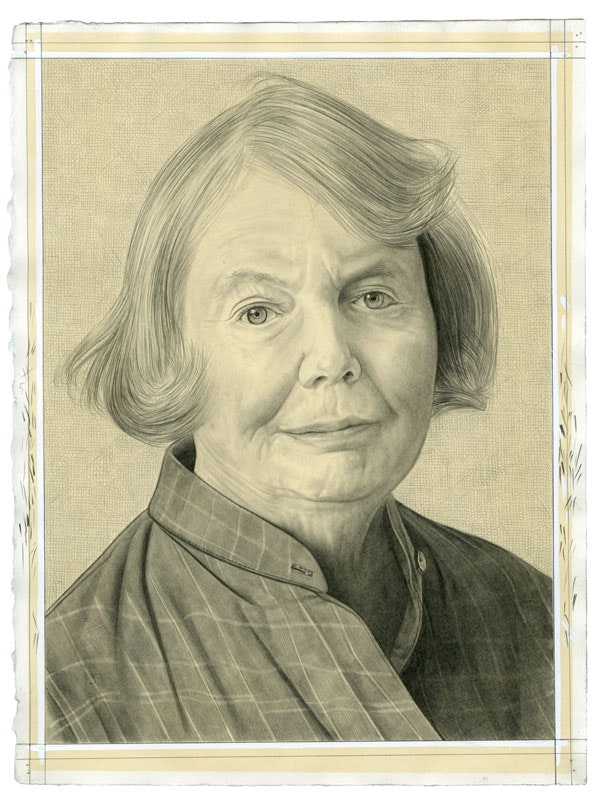 Portrait of Alanna Heiss. Pencil on paper by Phong Bui.