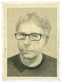 Portrait of the artist. Pencil on paper by Phong Bui.