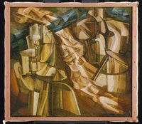 """Marcel Duchamp, """"The King and Queen Surrounded by Swift Nudes,"""" 1912. Oil on canvas, 146 x 89 cm. Philadelphia Museum of Art, The Louise and Walter Arensberg Collection, 1950. © 2014 Photo The Philadelphia Museum of Art / ArtResource / Scala, Florence. © Estate of Marcel Duchamp / ADAGP, Paris 2014."""