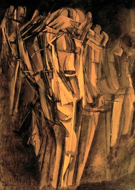 "Marcel Duchamp, ""Sad Young Man on a Train,"" 1911 – 1912. Oil on canvas, 100 x 73 cm. Venice, Peggy Guggenheim Collection © 2014. Photo Art Media/Heritage Images/Scala, Florence © Estate of Marcel Duchamp / ADAGP, Paris 2014."