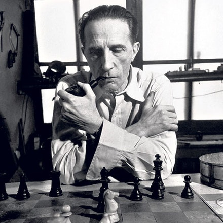 Marcel Duchamp, 1952. Image source unknown.