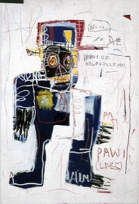 "Jean-Michel Basquiat, ""Irony of the Negro Policeman"" (1981), acrylic and oil paintstick on wood. Collection of Dan and Jeanne Fauci."