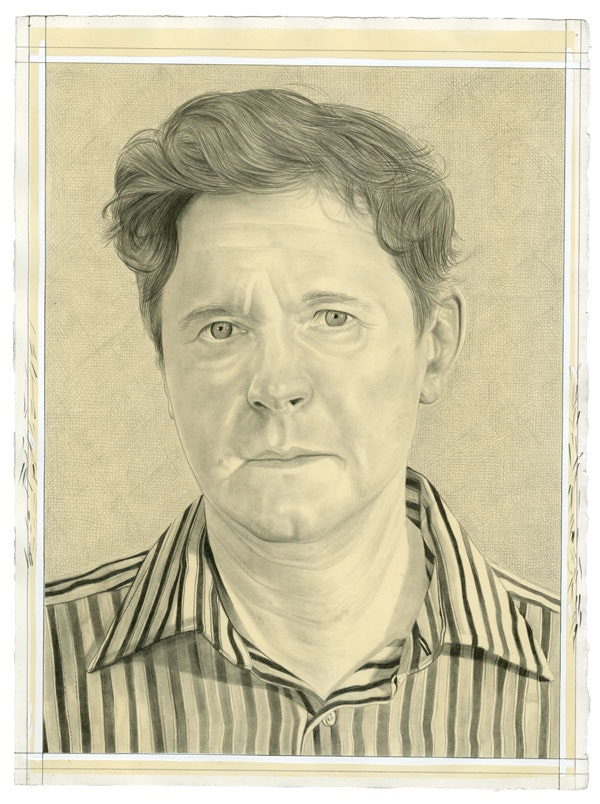 Portrait of Raymond Foye. Pencil on paper by Phong Bui.