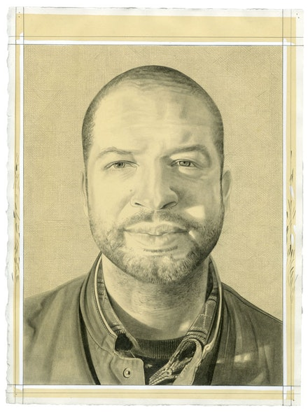 Portrait of Jason Moran. Pencil on paper by Phong Bui.