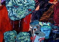 """Scott Lewis, detail, """"'The same as any other night' muttered Hank…"""" (1997), gouache, watercolor, acrylic, ink, pencil, etc. on board. Courtesy of the artist."""