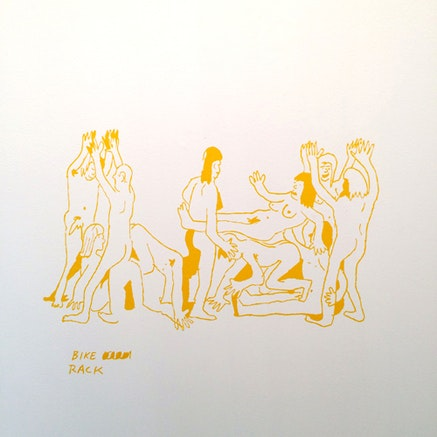 "Dan Allende, ""Bike Rack,"" 2014. Vinyl on wall, 21 x 28"". Photo: Ryan Oskin."