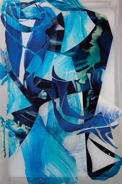 <em>Behind the Waterfall</em>, 2014, oil, acrylic, and dye on silkscreen, 72 x 48 in