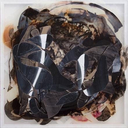 <em>Frenhofer</em>, 2014, oil, acrylic, and dye on silkscreen, 48 x 48 in