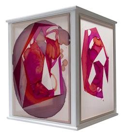 <em>Lantern I</em>, 2014, oil, acrylic, and dye on 4 silkscreens, 27 x 22 x 22 in