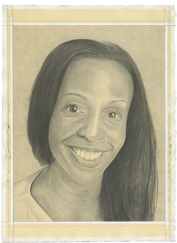 Portrait of Sarah Lewis. Pencil on paper by Phong Bui. Inspired by a photograph by Zack Garlitos.