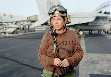 "An-My Lê, ""Line Shack Supervisor for EA-6B Prowler, USS Ronald Reagan, North Arabian Gulf,"" 2009. Courtesy of the artist and Murray Guy, New York."