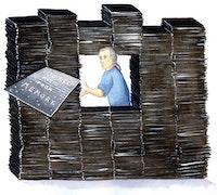 Vito Ricci in the stacks. Illustration by Megan Piontkowski.