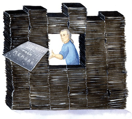 Vito Ricci in the stacks. Illustration by Megan Piontkowski.