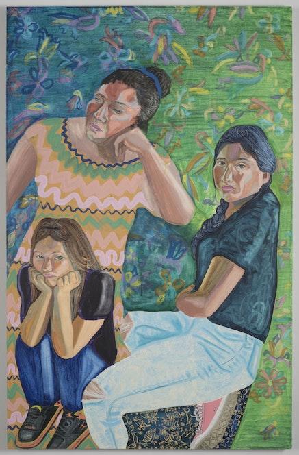 "Aliza Nisenbaum, ""Gloria, Angelica, Jessica,"" 2014, oil on linen, 51×33˝. Courtesy of artist and gallery."