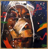 "Martin Kippenberger, ""Self Portrait"" (1982), mixed media on canvas."