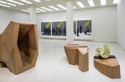 Installation view: <em>Wang Jianwei: Time Temple</em>, Solomon R. Guggenheim Museum, New York, October 31, 2014-February 16, 2015. <em>Wang Jianwei: Time Temple</em> is made possible by The Robert H. N. Ho Family Foundation. All works by Wang Jianwei &#169;2014 Wang Jianwei, used by permission. Photo: David Heald &#169; Solomon R. Guggenheim Museum, New York.