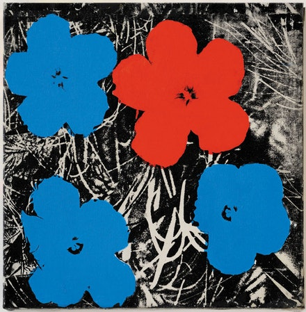 "<p>Sturtevant, ""Warhol Flowers,"" 1964 – 65. Synthetic polymer screenprint on canvas. 221/16 × 221/16˝. Estate Sturtevant, Paris. Courtesy Galerie Thaddaeus Ropac, Paris–Salzburg. © Estate Sturtevant, Paris.</p>"