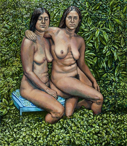 "<p>Shirley Gorelick, ""Two Sisters I,"" 1976. Acrylic on canvas. 80 × 695/8˝.</p>"