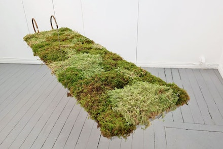 Dit-Cilinn and David Ohlsson, detail from <em>All Pores Open,</em> 2014-15. Thermohydrometer, moss, steel, wood, rubber, clay, birch bark, metal wire, acrylic. Dimensions variable.