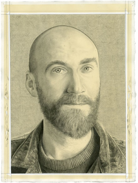 Portrait of Jarrett Earnest. Pencil on paper by Phong Bui. Inspired by a photograph by Zack Garlitos.